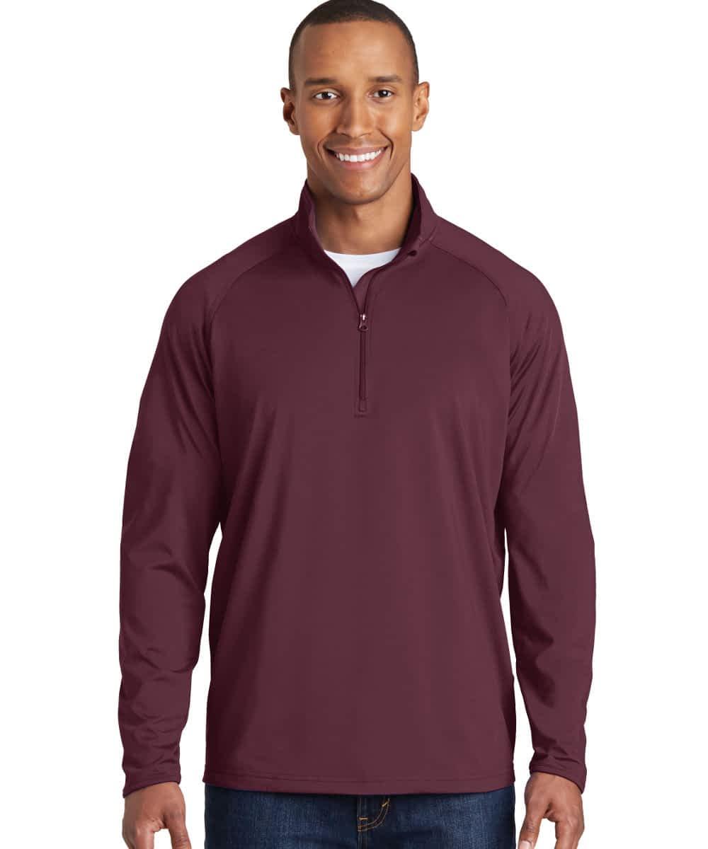 Sport Stretch Pullover For Short Men - Deep Red