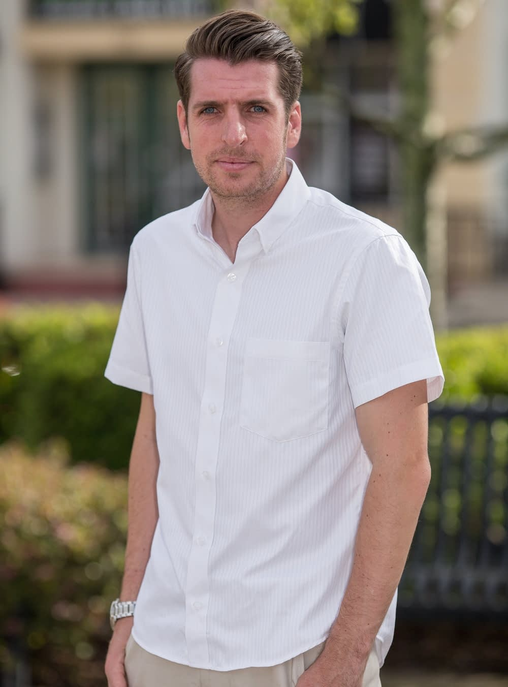 Tall Men's 'Classic White' Casual Short Sleeve Shirt