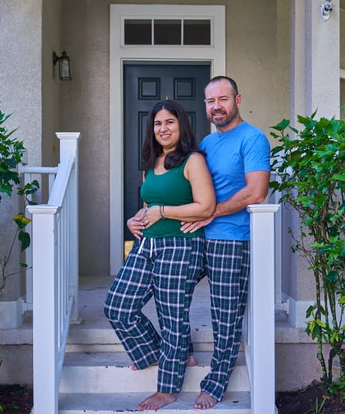product photo pajama bottoms for couples
