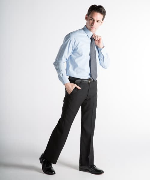 James Wool Relaxed Fit Dress Pants For Tall Men - Black