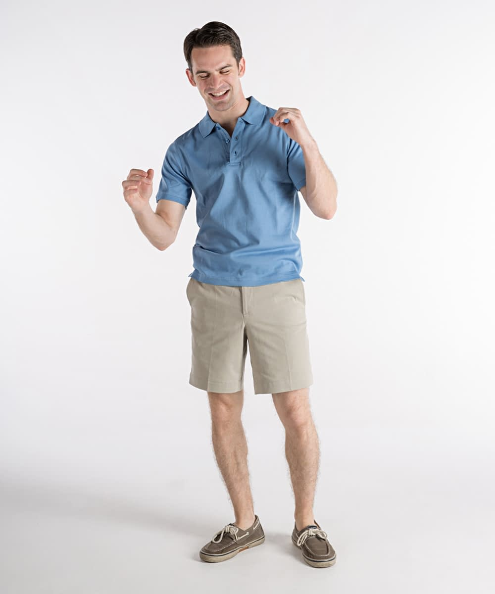 Jeff Cotton Twill Flat-Front Self-Sizer Shorts For Tall Men - Tan