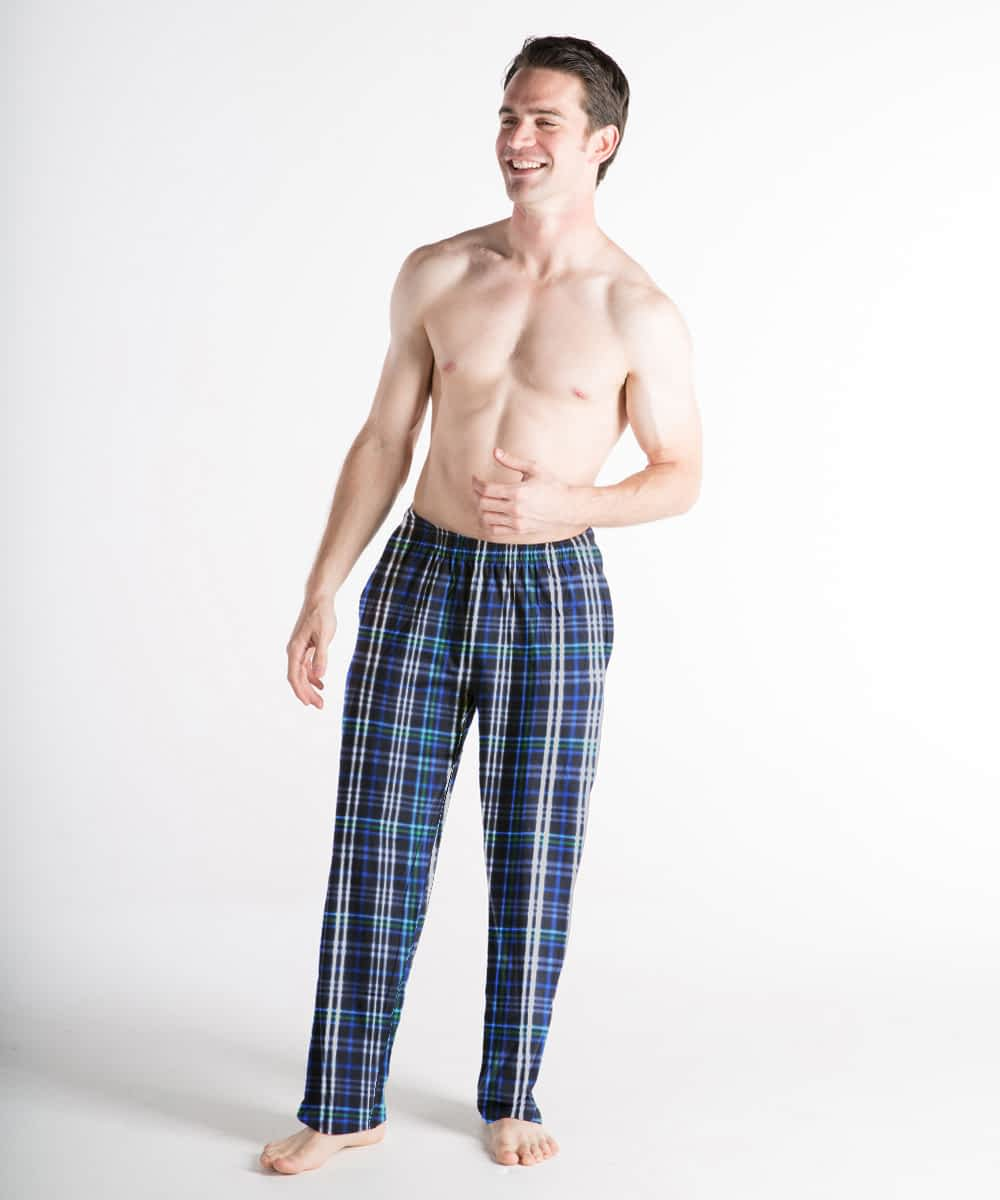 Cotton Broadcloth Pajama Bottoms For Tall Men - Green and Blue Plaid
