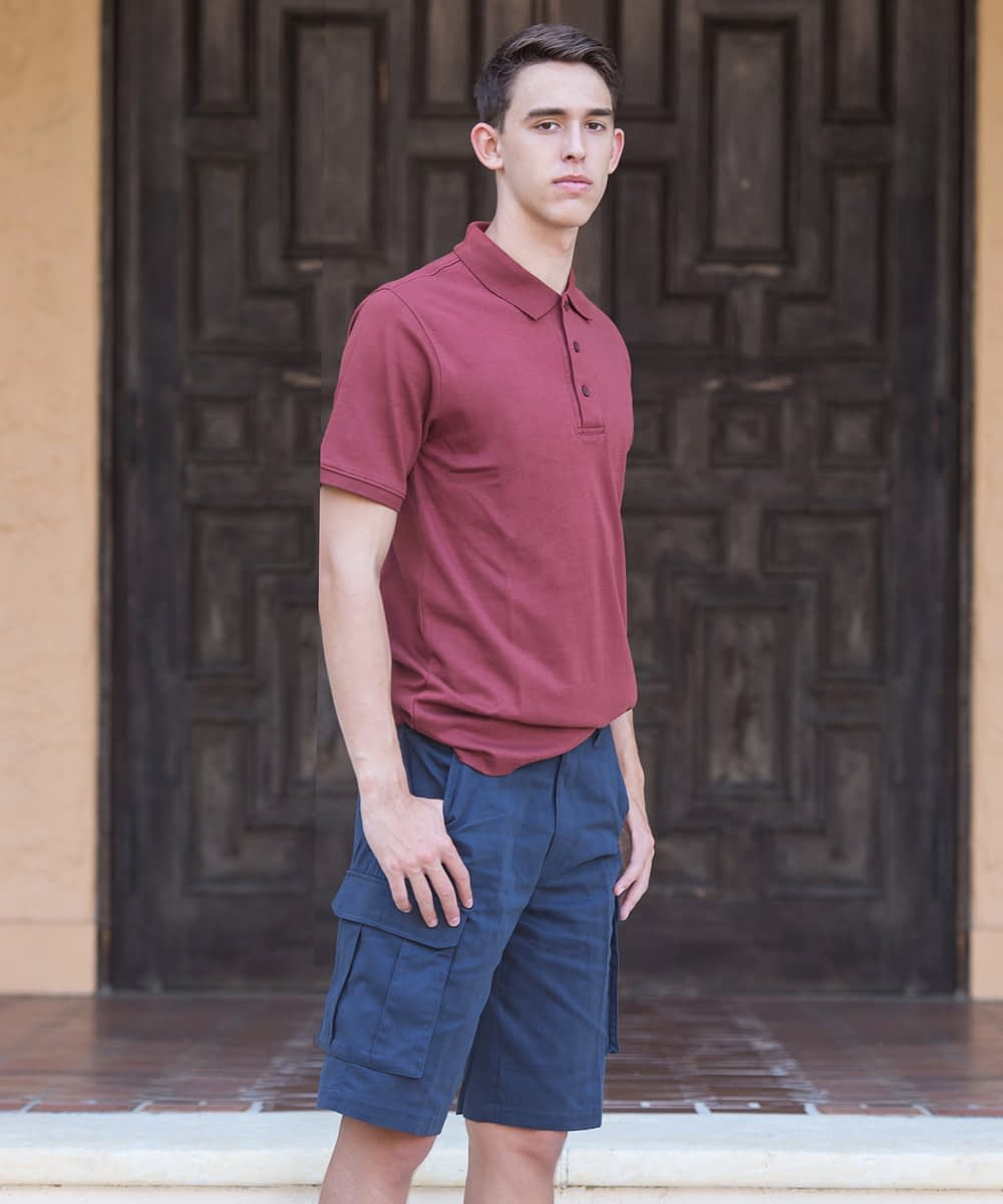Jason Sanded Cotton Cargo Shorts For Tall Men - Navy