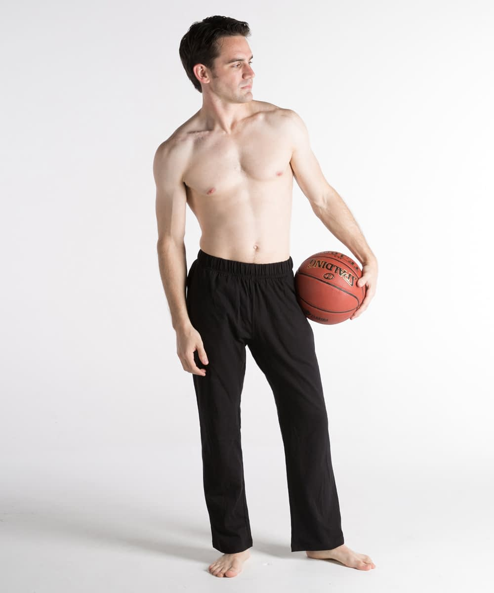 Slim-Fit, Short-Rise Jersey Athletic Pants For Short Men - Black