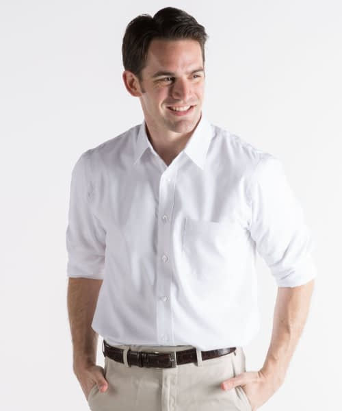 Long Sleeve Dress Shirt For Tall Men - White