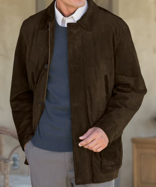 Calf Suede Jacket For Short Men - Brown