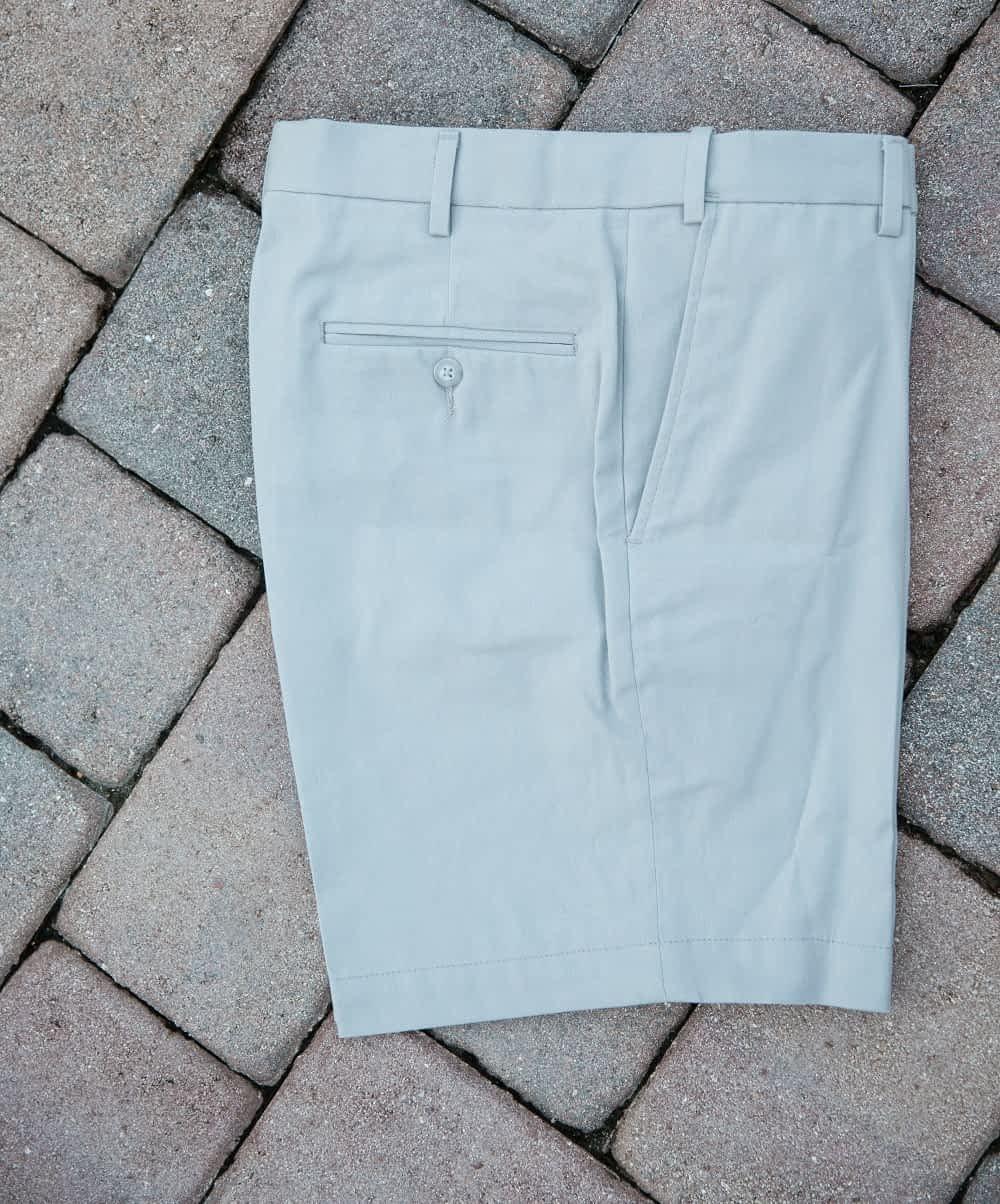 Jeff Short-Rise Cotton Twill Shorts For Short Men - Cloud Gray, Self-Sizer Waist