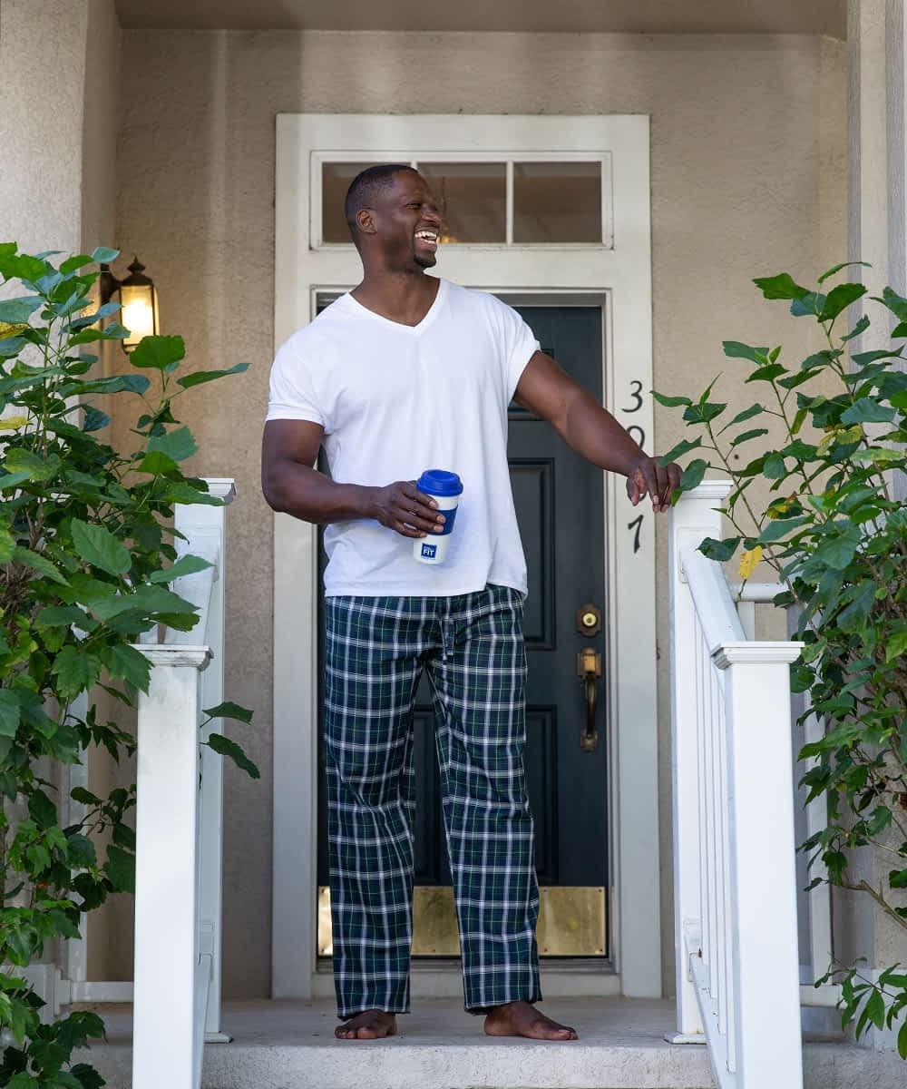 Tall Men's green blue plaid pajama bottom