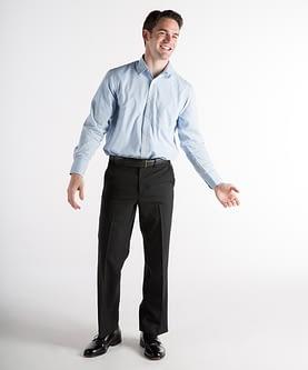 highly praised super cheap bottom price Dylan Washable Wool Self-Sizer Dress Pants For Short Men - Black
