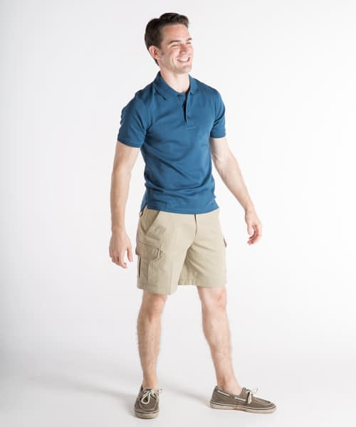 Jason Sanded Cotton Cargo Shorts For Short Men - Tan