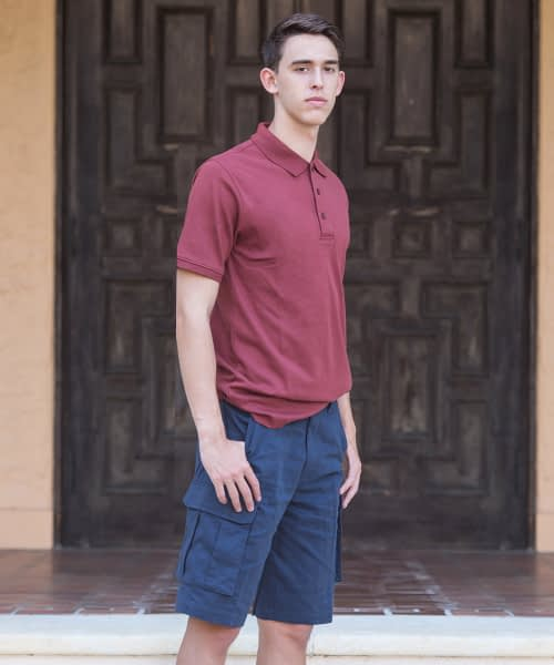 Jason Sanded Cotton Cargo Shorts For Tall Men - Navy