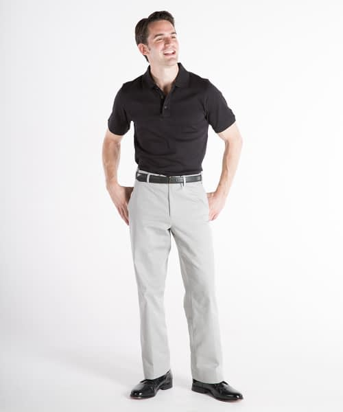 Dylan Flat-Front Cotton Twill Self-Sizer Chinos For Short Men - Cloud Gray