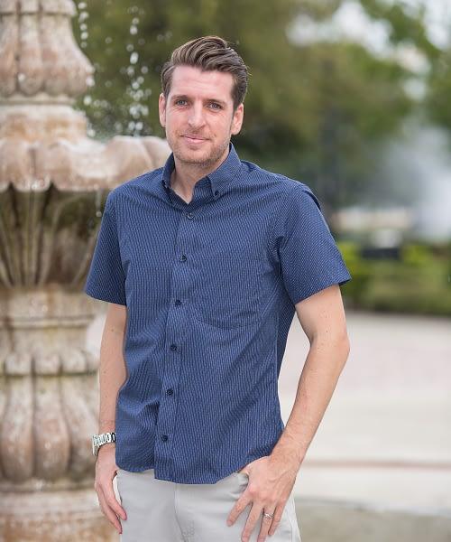 Short Men's Casual Short Sleeve Shirt, Navy