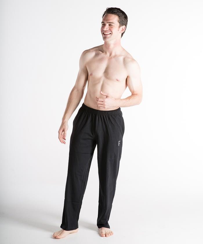Jersey Short-Rise Athletic Pants For Short Men - Black