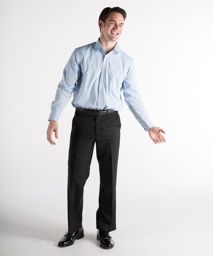 Dylan Washable Wool Self-Sizer Dress Pants For Short Men - Black