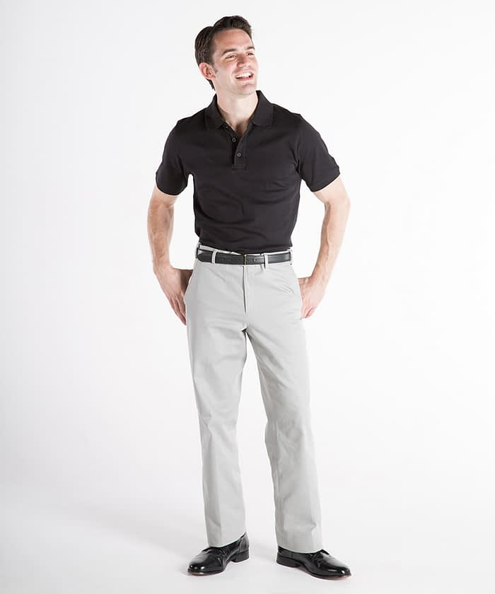 Dylan Flat-Front Cotton Twill Self-Sizer Chinos For Tall Men - Cloud Gray