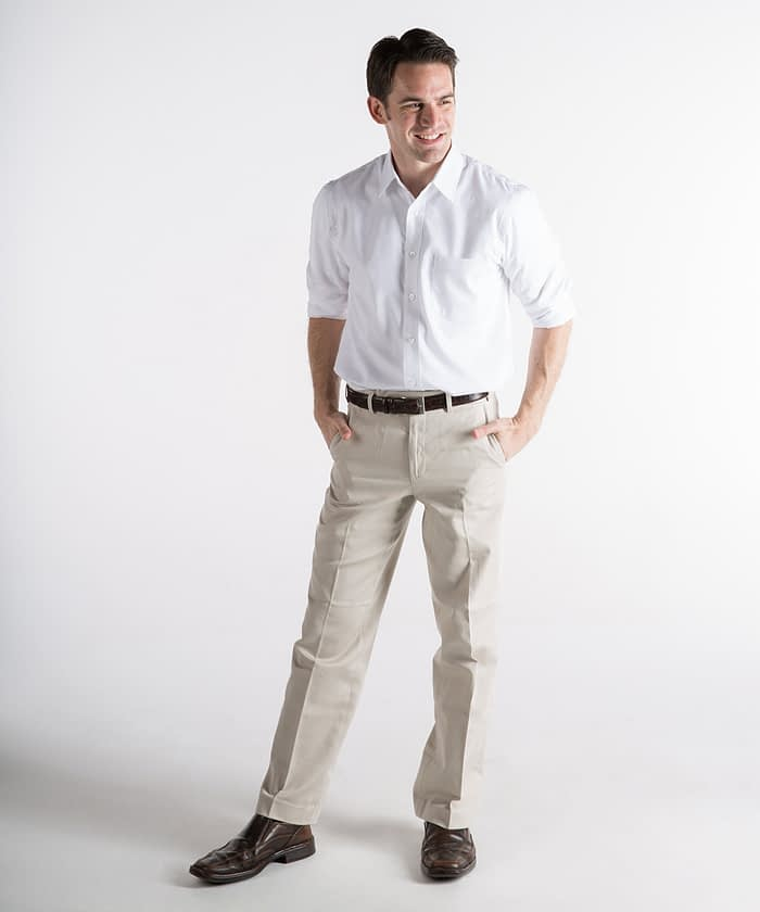 Dylan Flat-Front Cotton Twill Self-Sizer Chinos For Tall Men - Sand
