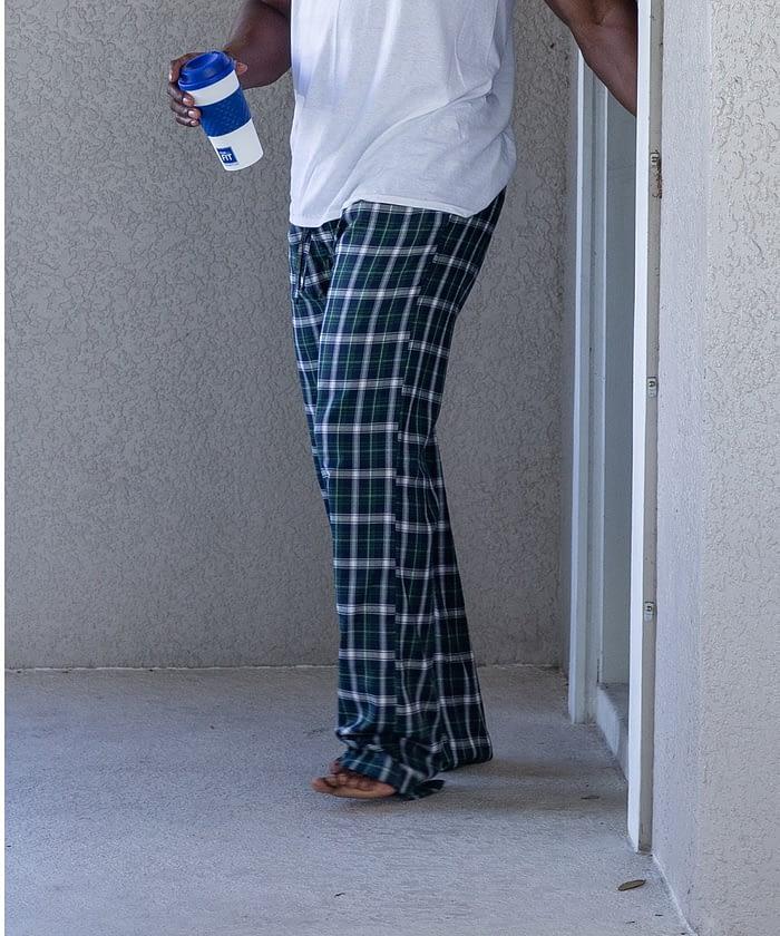 Short Men's Green Blue Plaid Pajama Bottom