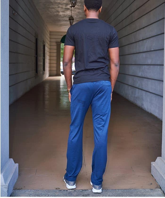 product photo back view tall men's basketball training pant navy