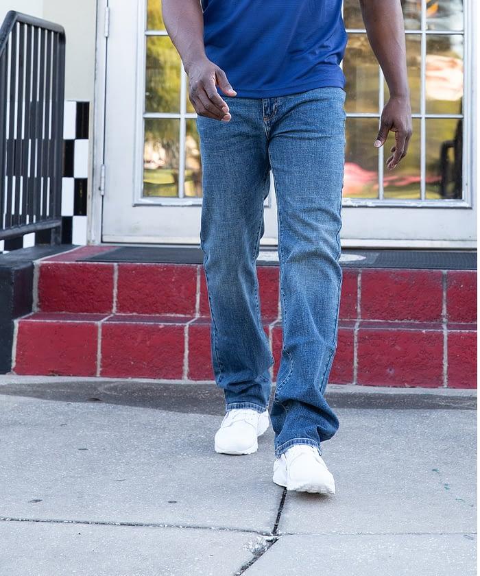 classic fit denim jeans for short men