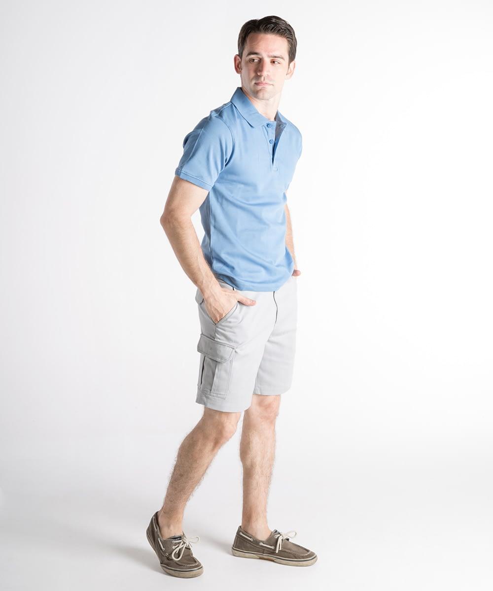 Jason Sanded Cotton Cargo Shorts For Short Men - Cloud Gray