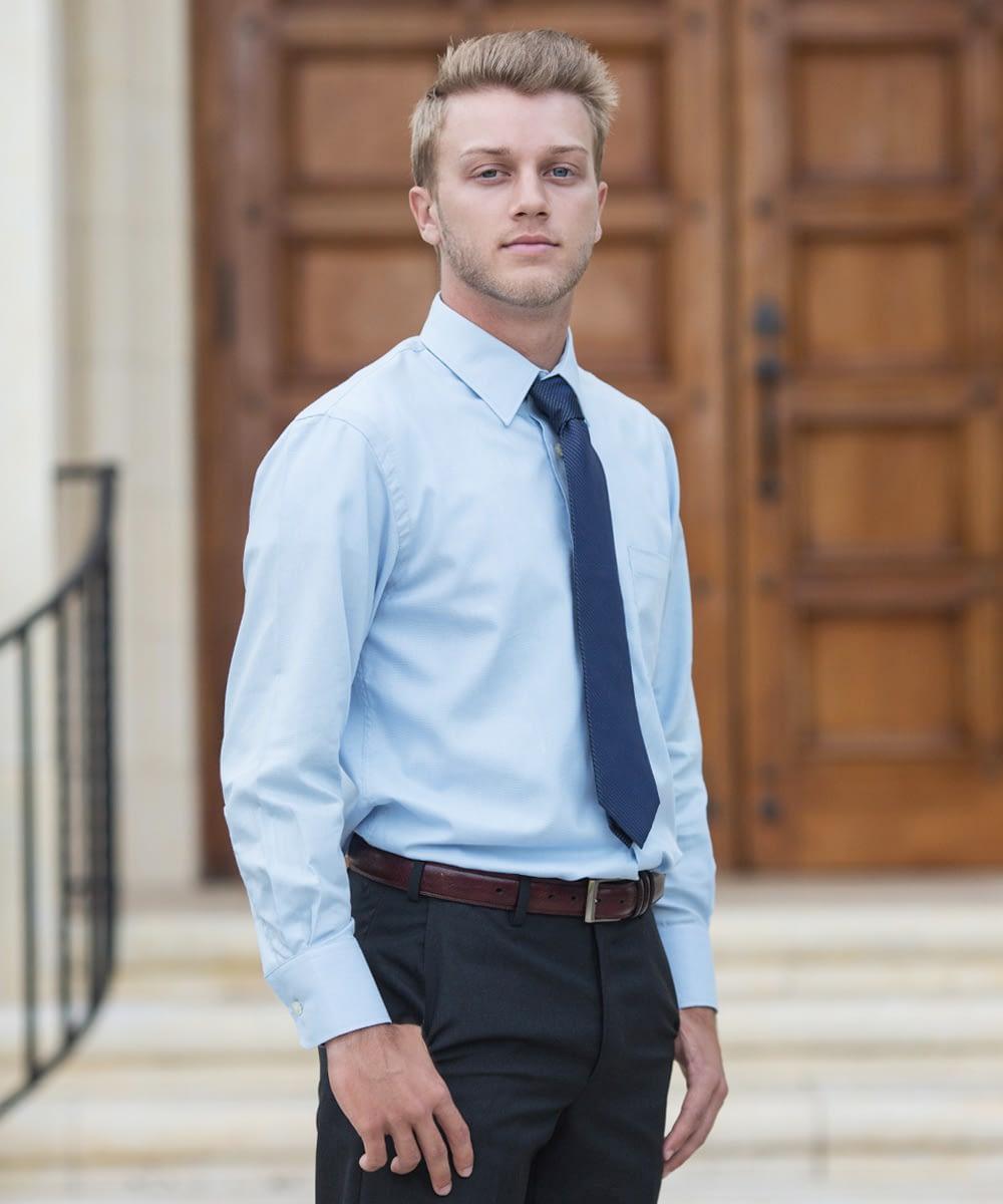 Long Sleeve Dress Shirt For Short Men - Light Blue