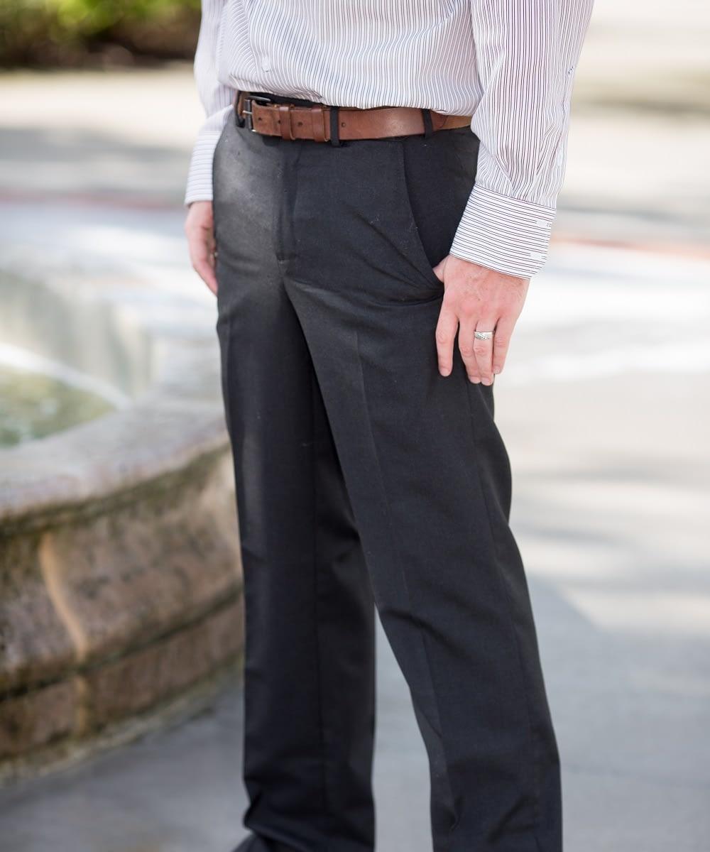Dylan Washable Wool Self-Sizer Dress Pants For Short Men - Charcoal